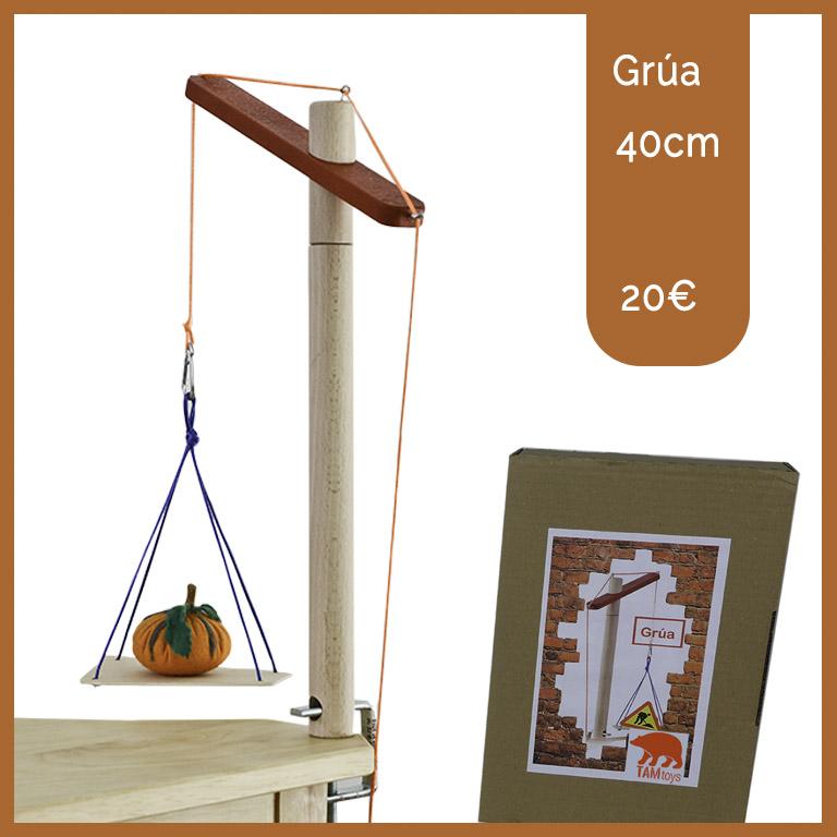 grúa madera juguetes Valladolid hecho a mano