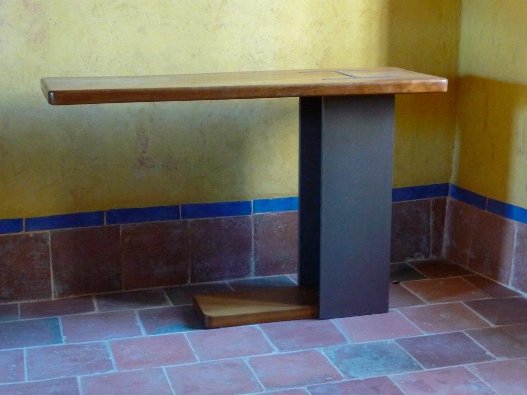 mesa industrial rustica con viga tallera acero y madera castilla y leon