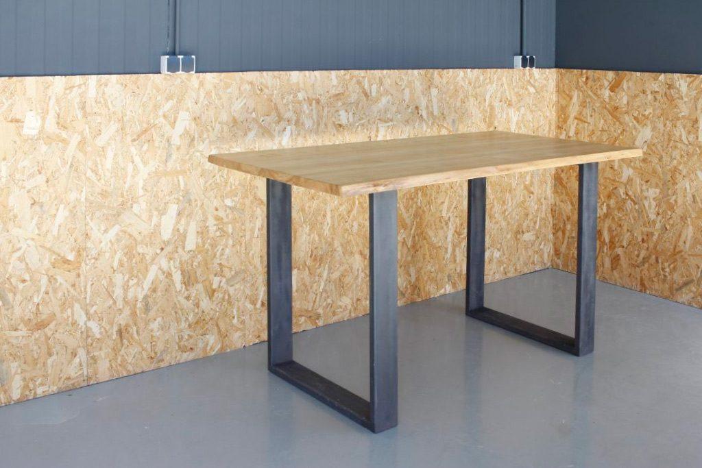 Mesa industrial de madera olmo maciza taller acero y madera tam valladolid