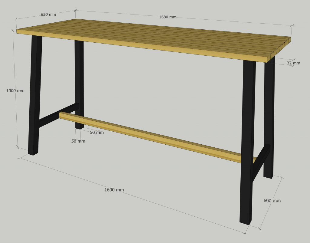 mesas con madera maciza en metal y madera, TallerAcero y Madera Valladolid